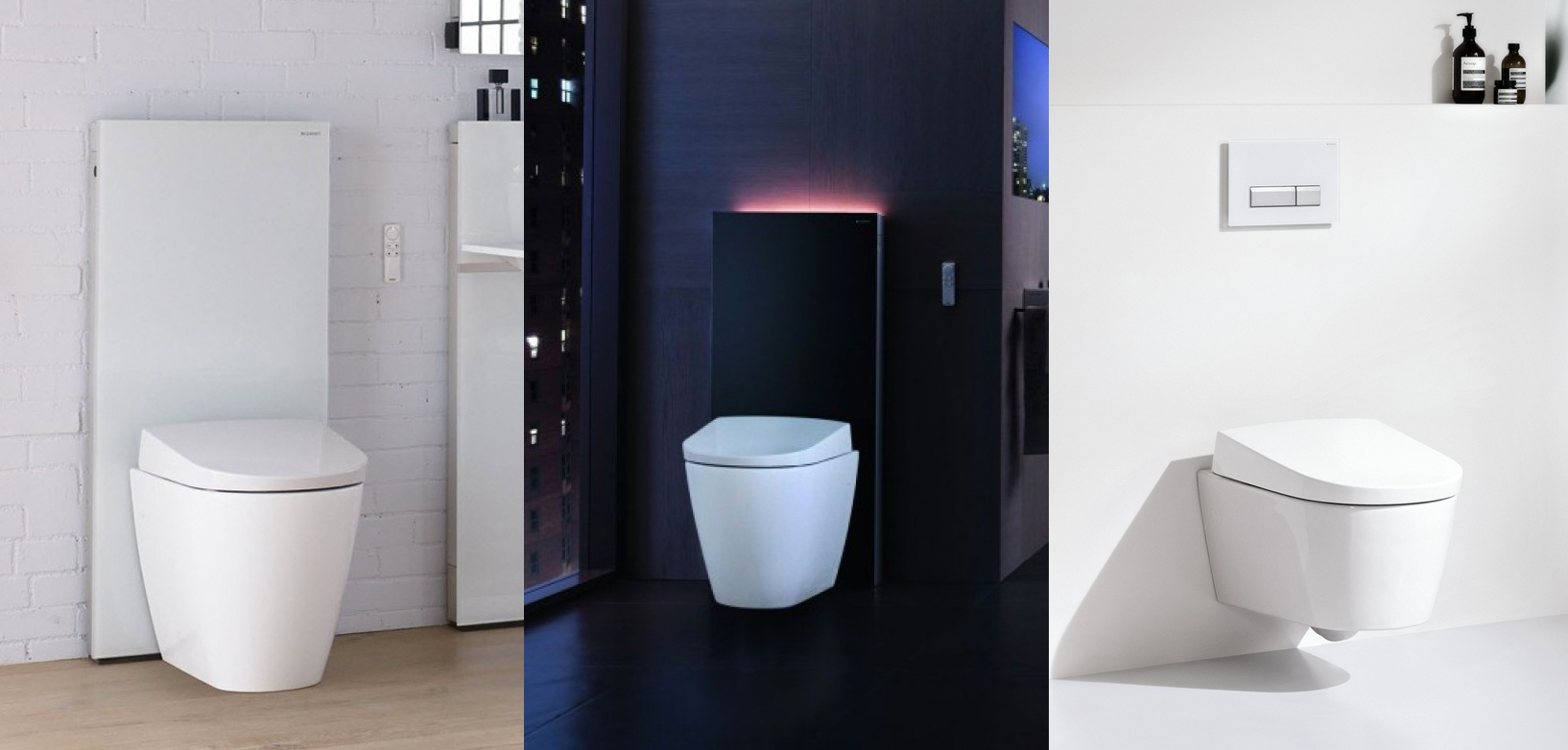 Geberit Aquaclean Sela with Geberit Monolith (Left, Middle), with Concealed Cistern (Right)