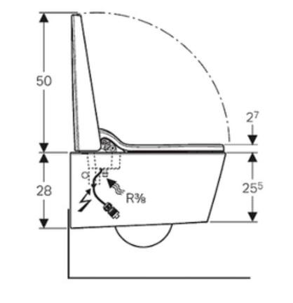 Geberit Aquaclean Sela Specification Drawing 1