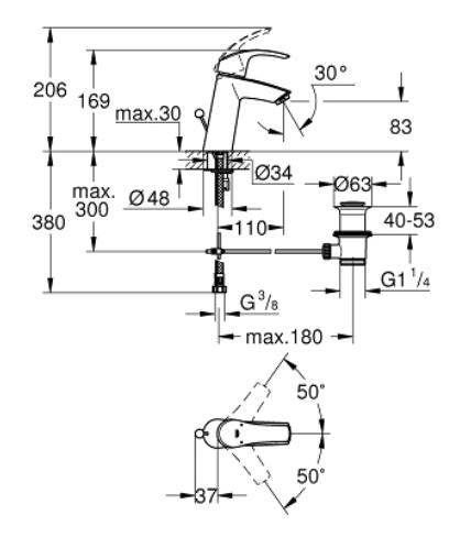 Grohe eurosmart new single lever M-size basin mixer specification 23322001-DRW