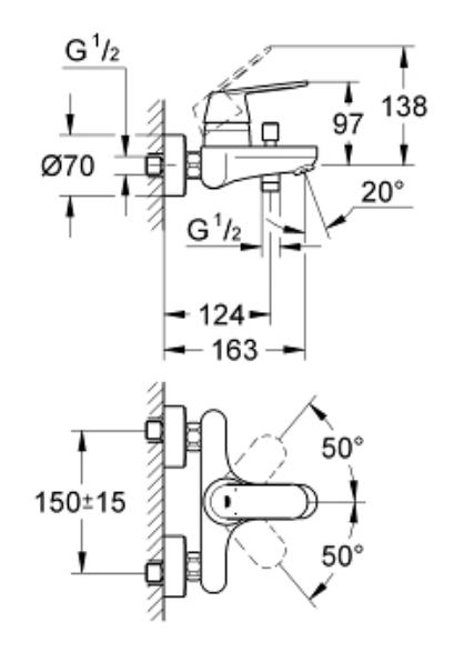 Specification Grohe Eurosmart Cosmopolitan Bath/Shower mixer-32831000-DRW