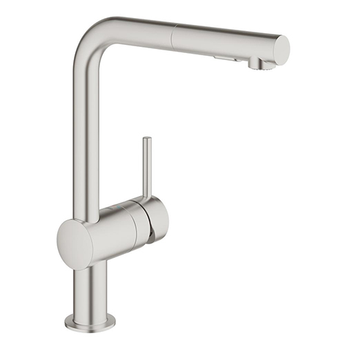 Grohe Minta SuperSteel 30274DC0. SuperSteel has a stylish matte finish, is 3 times as hard as chrome , and 10 times as durable