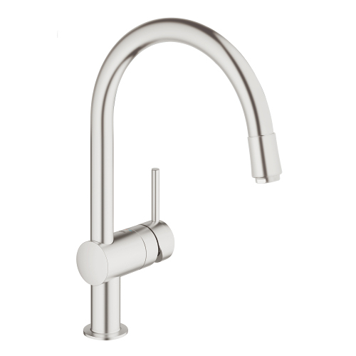 Grohe Minta SuperSteel 32918 DC0. SuperSteel has a stylish matte finish, is 3 times as hard as chrome , and 10 times as durable