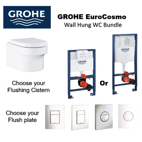 Grohe EuroCosmo Wall Hung WC+Concealed Cistern+ Flush plate Promotion