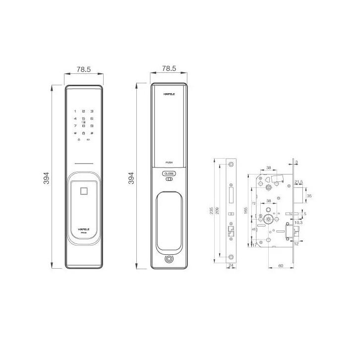 Hafele Digital Door Lock PP8100 DRW