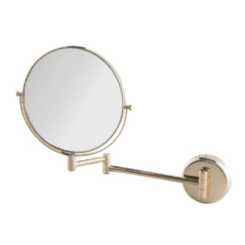 Wall-Mounted Double-Sided mirror, normal and 3x magnification with Gold finishing