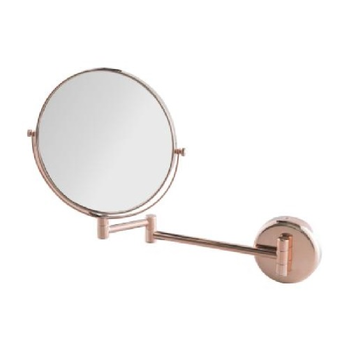 Wall-Mounted Double-Sided mirror, normal and 3x magnification with Rose Gold finishing