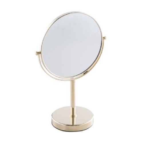 Desktop Double-Sided mirror, normal and 3x magnification with Gold finishing
