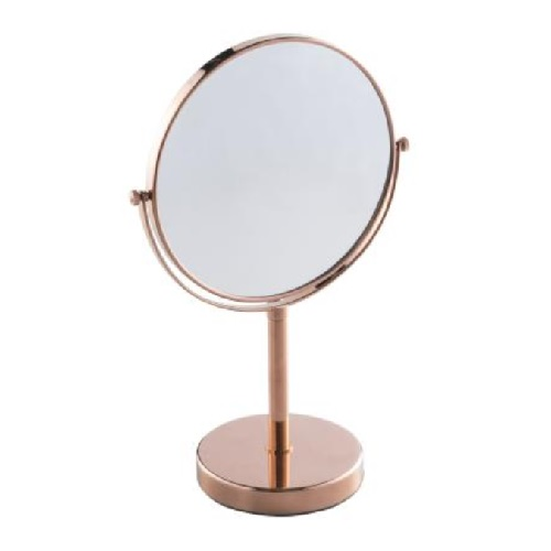 Desktop Double-Sided mirror, normal and 3x magnification with Rose Gold finishing