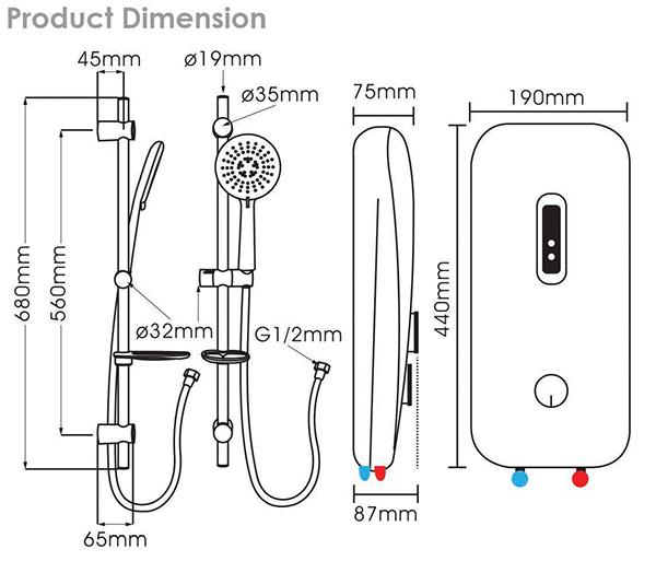 Rubine RWH-1388_Dimensions