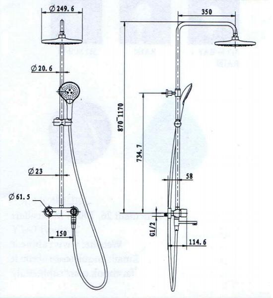 Rubine Shower Column-RSC-PUSHSTOP-R61BK_CH Specification