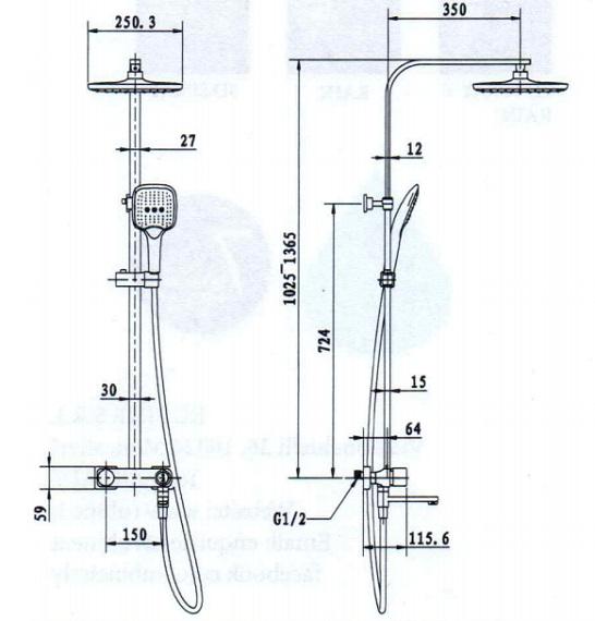 Rubine Shower Column-RSC-PUSHSTOP-S81BK_CH Specification