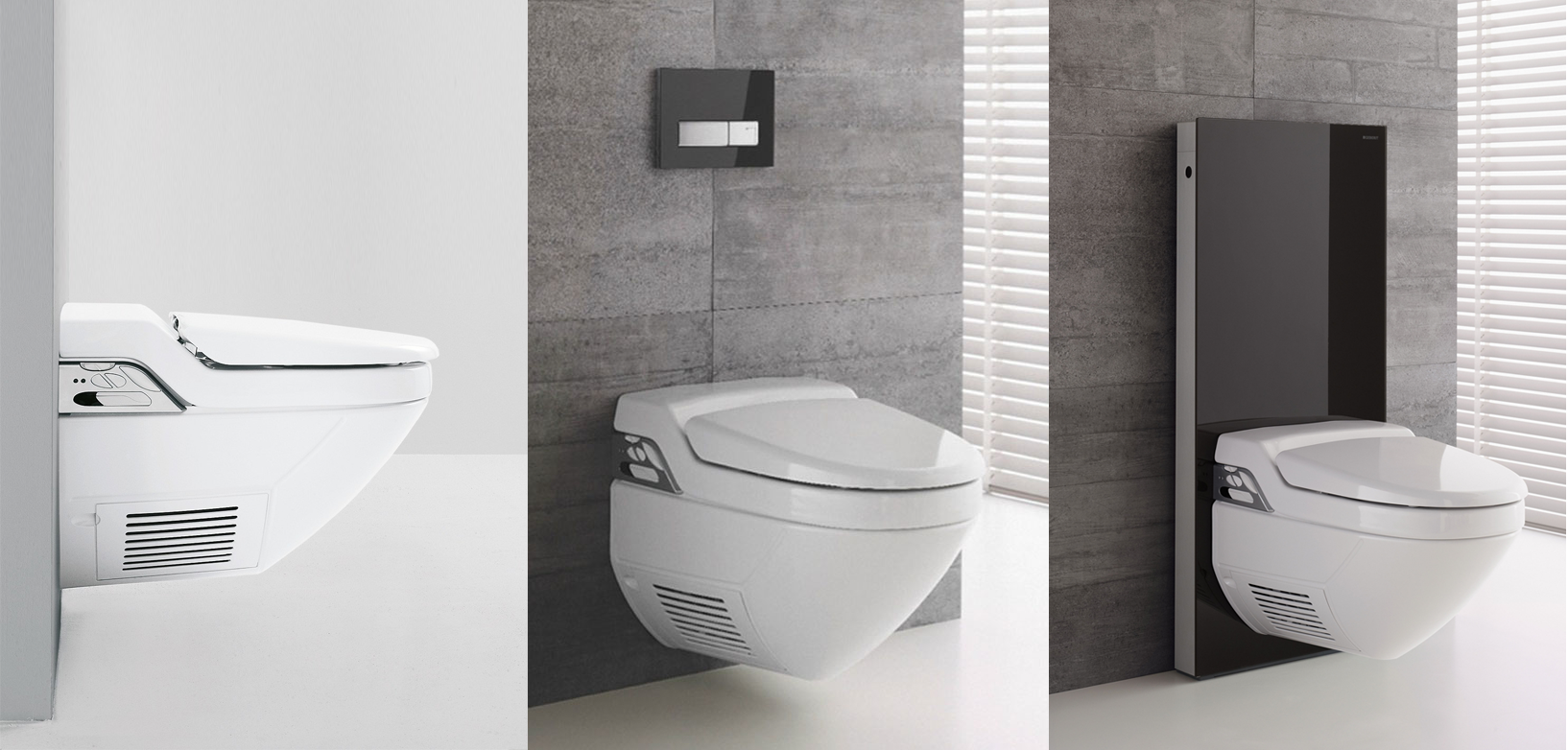 Geberit Aquaclean with Concealed Cistern (Left, Middle), with Monolith (Right)