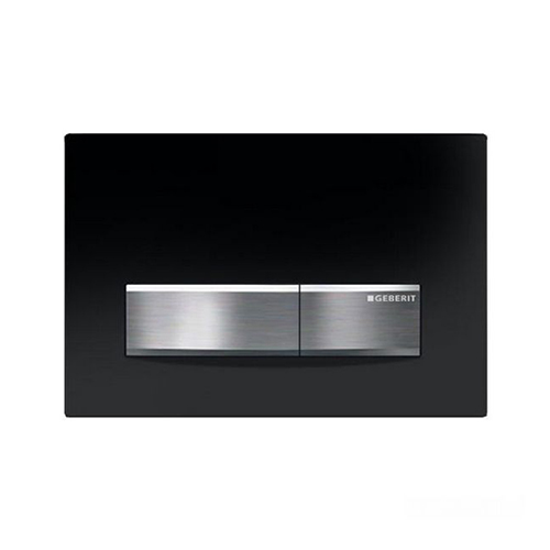 Geberit Sigma 50. Die-cast zinc. Available in Brushed Chrome / White Alpine/ Green Glass Satinised / Umber Glass Satinised / Jet Black / Glass Reflective / Customisable surface