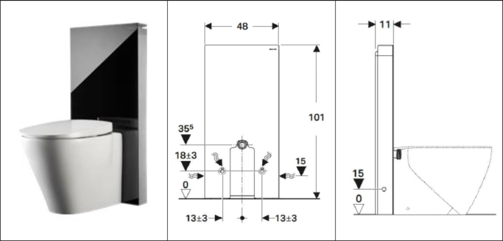 Geberit Monolith Standing WC Dimensions