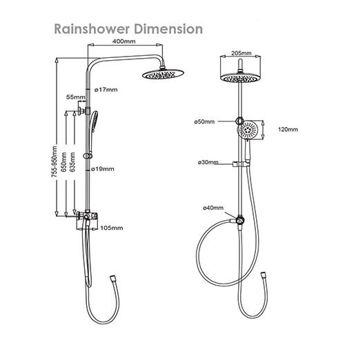 Rubine RWH2388 Rainshower Dimensions